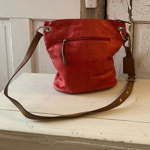 Tignanello red leather bag with brown straps